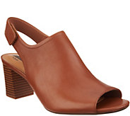 Clarks Leather Stacked Heel Peep Toe Sandals - Deva Jayleen - A306971
