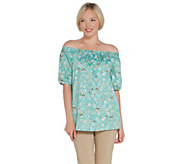 Martha Stewart Stretch Sateen Floral Printed Off-the- Shoulder Blouse - A309971