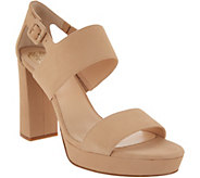 Vince Camuto Leather Block Heeled Sandals - Jayvid - A310571