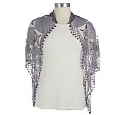 Lee Sands Crocheted Shawl with Bead Accents & Fringe Detail - A329771