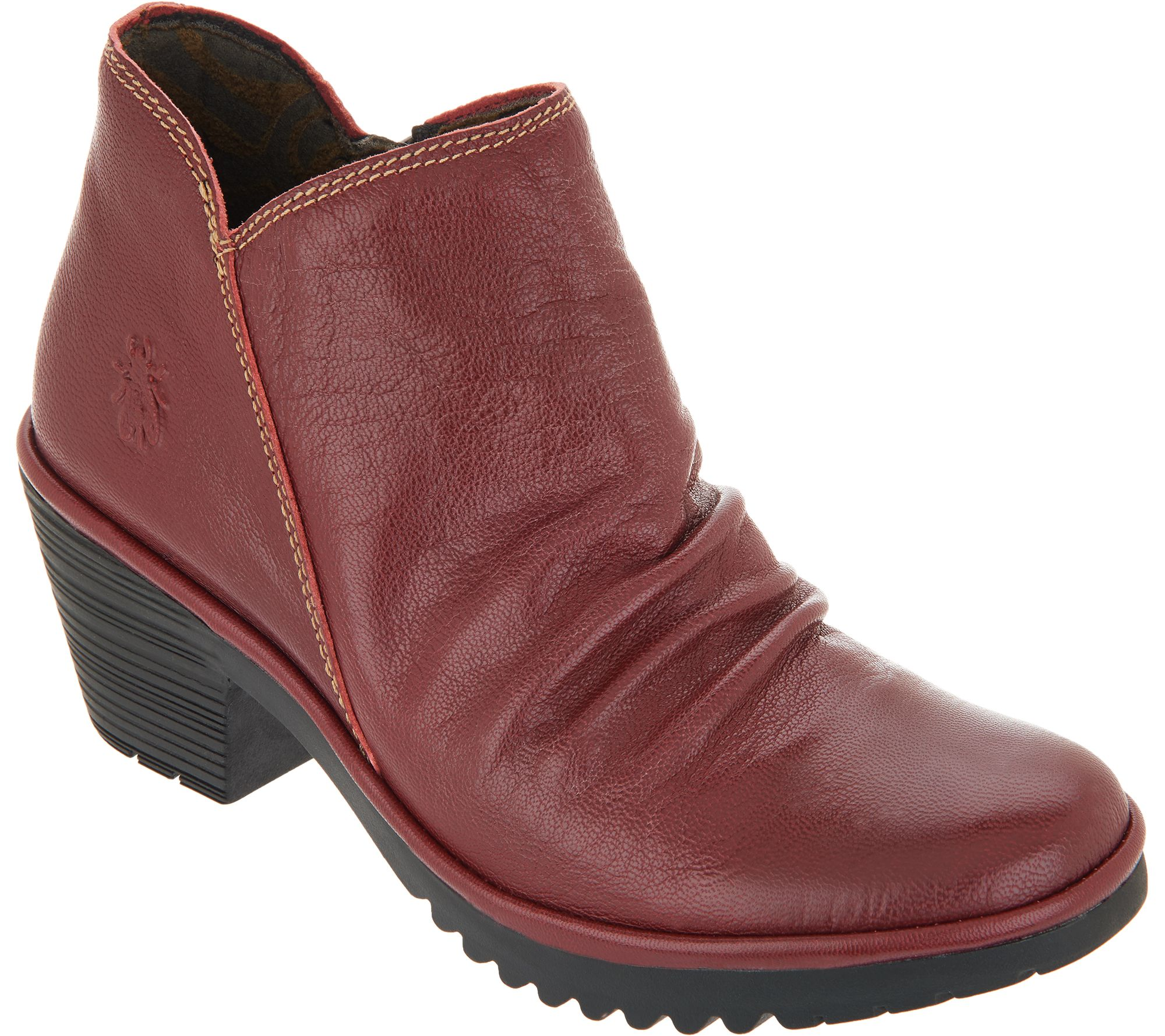 19c5c2ed263 FLY London Leather Ruched Ankle Boots - Wezo - Page 1 — QVC.com