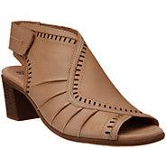 Earth Leather Peep Toe Heeled Sandals- Steph Moza - A349371