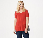 LOGO by Lori Goldstein Rayon 230 Top with Gingham Back Panel - A350571