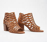 Vince Camuto Leather Cut-Out Heeled Sandals- Kevston - A353471