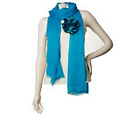 Wrap Scarf with Detachable Flower Pin by VT Luxe - A223672