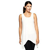 LOGO Layers by Lori Goldstein Scoop Neck Asymmetrical Hem Knit Tank - A235472