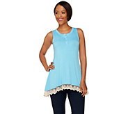 LOGO by Lori Goldstein Knit Henley Tank with Lace Trim - A275772