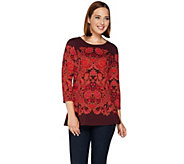 Isaac Mizrahi Live! Engineered Tapestry Print Peplum Knit Top - A281472