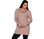 AnyBody Loungewear Cozy Knit Waffle Cowl Neck Tunic - A293072