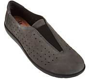 As Is Clarks Perforated Nubuck Leather Slip-On Shoes Medora Gemma - A293572