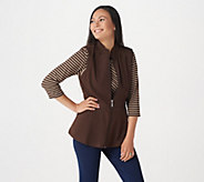 Denim & Co. Active Striped 3/4 Sleeve Top w/ Zip Front Peplum Vest Set - A293872