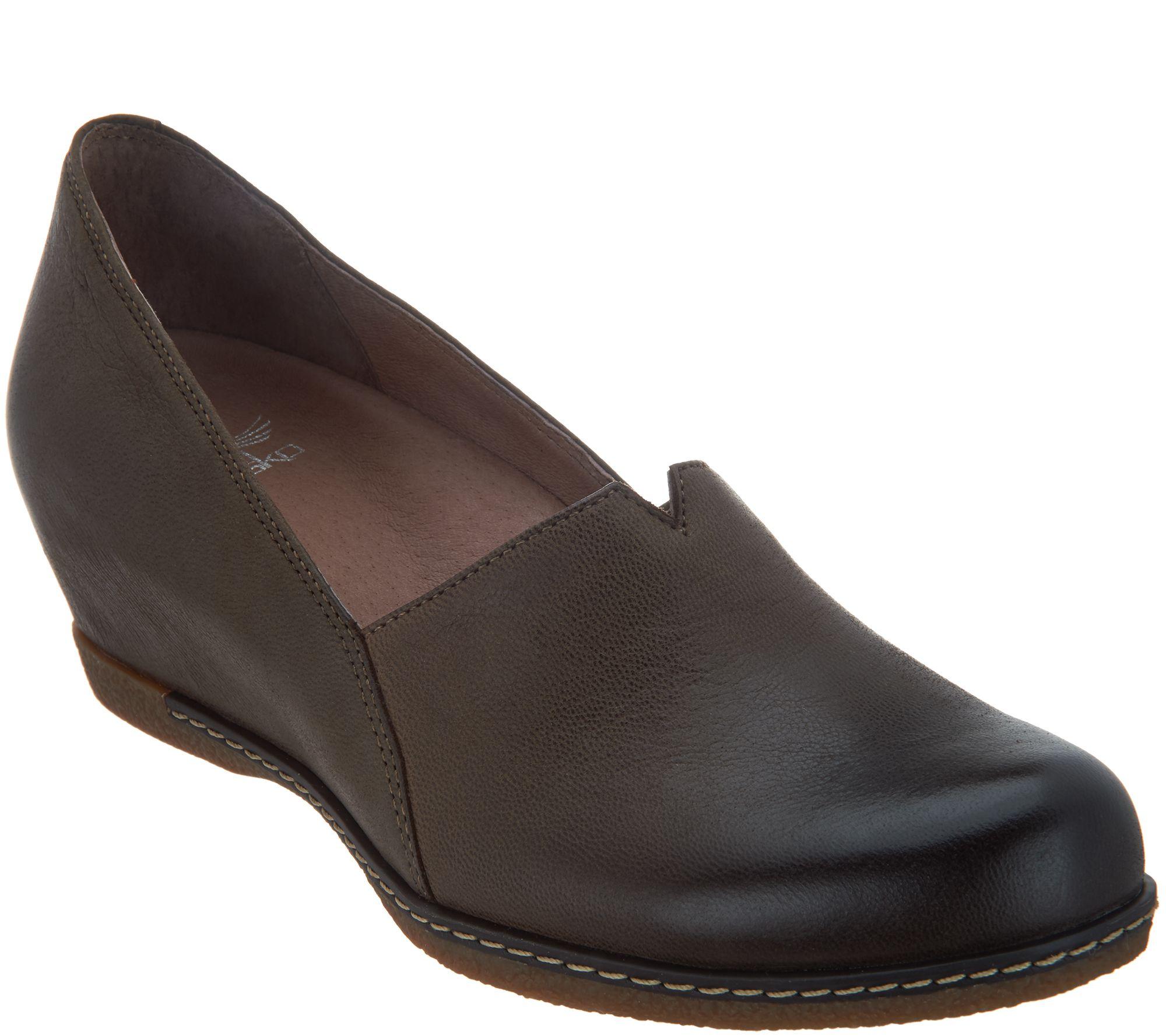 69100555870 Dansko Nubuck Leather Closed Toe Wedges - Liliana - Page 1 — QVC.com
