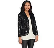 Lisa Rinna Collection Button Front Sequin Blazer - A298372