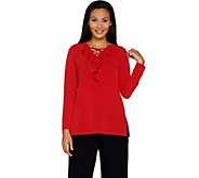 Susan Graver Liquid Knit Tunic with Ruffle and Lacing - A298472