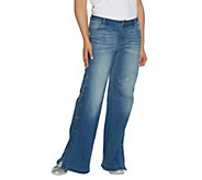 Peace Love World Regular Denim Button Side Pants - A301572