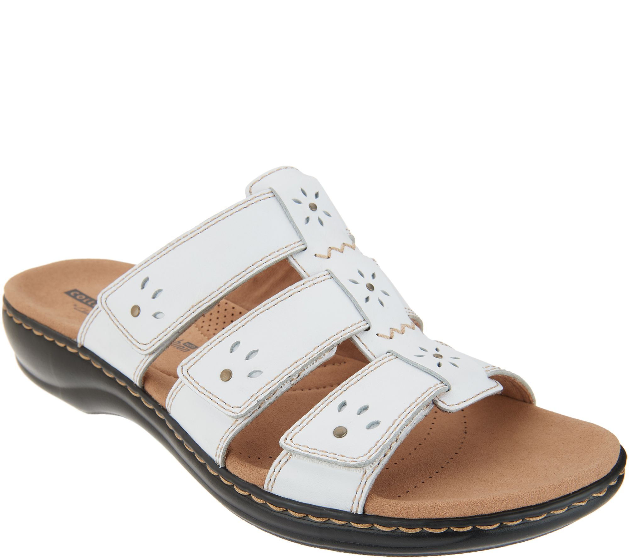 f7cf66f33a7c Clarks Collection Leather Slide Sandals - Leisa Spring - Page 1 — QVC.com