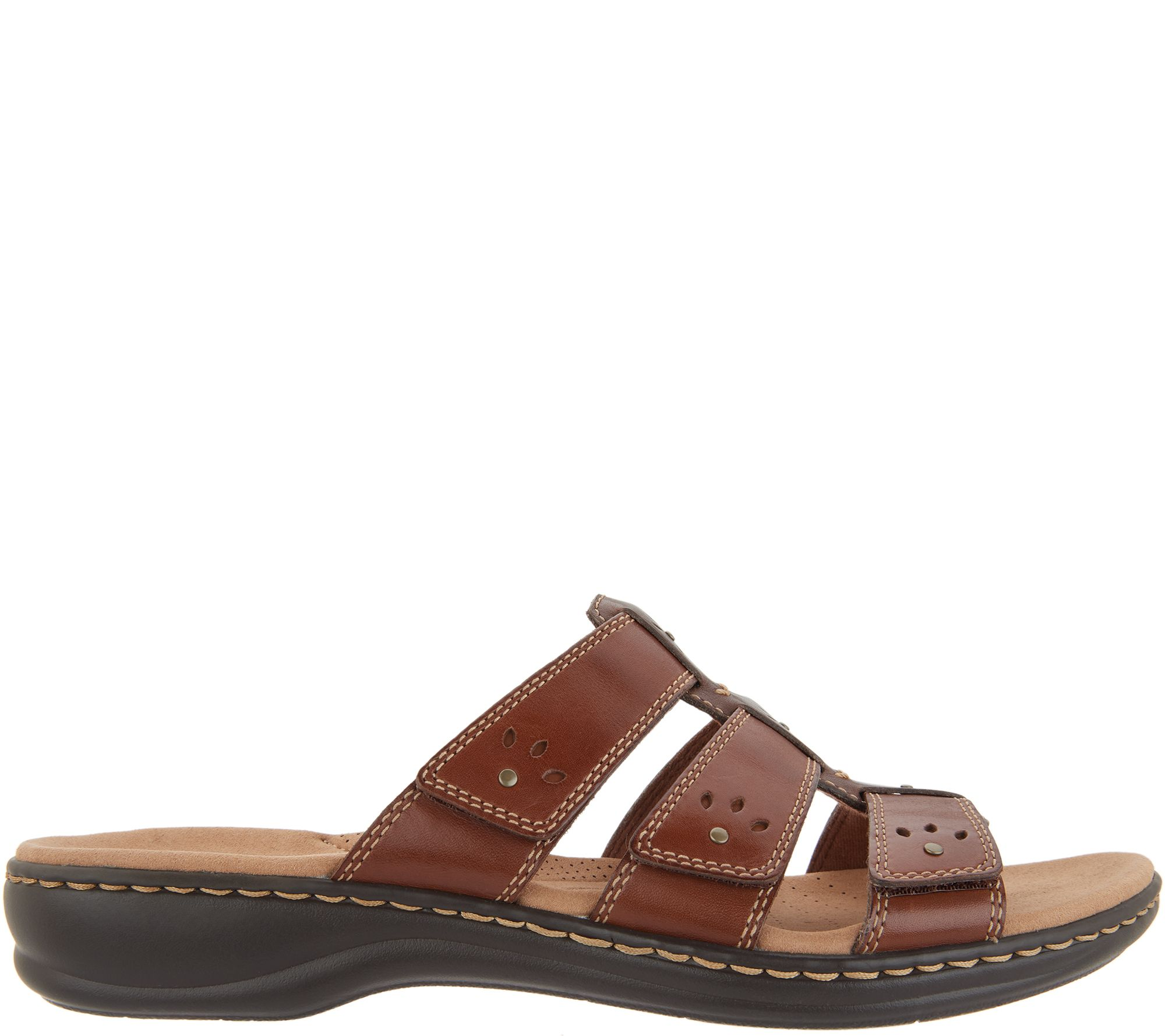 61499b6db62d Clarks Collection Leather Slide Sandals - Leisa Spring - Page 1 — QVC.com