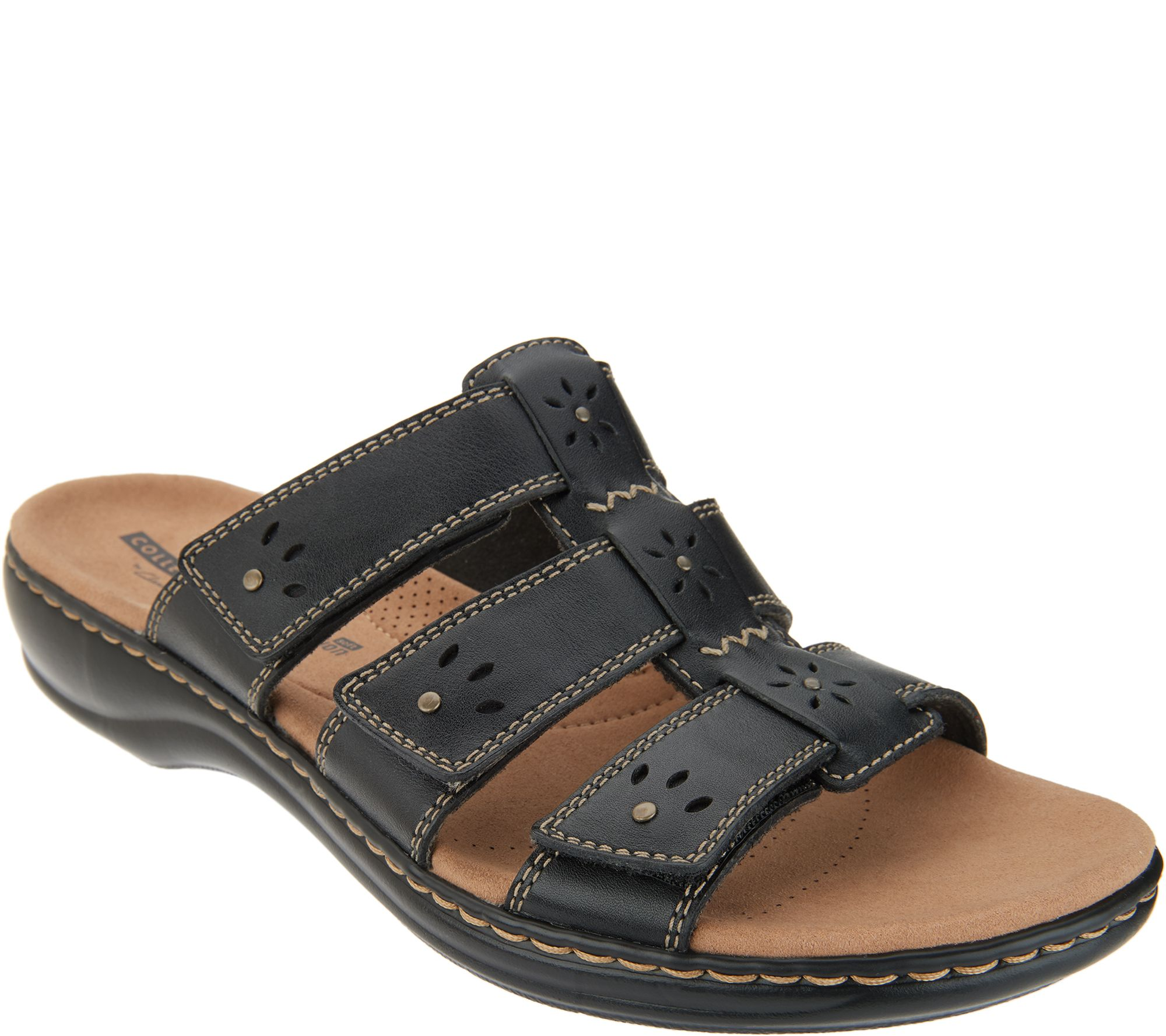 a1d939c5ca3 Clarks Collection Leather Slide Sandals - Leisa Spring - Page 1 — QVC.com