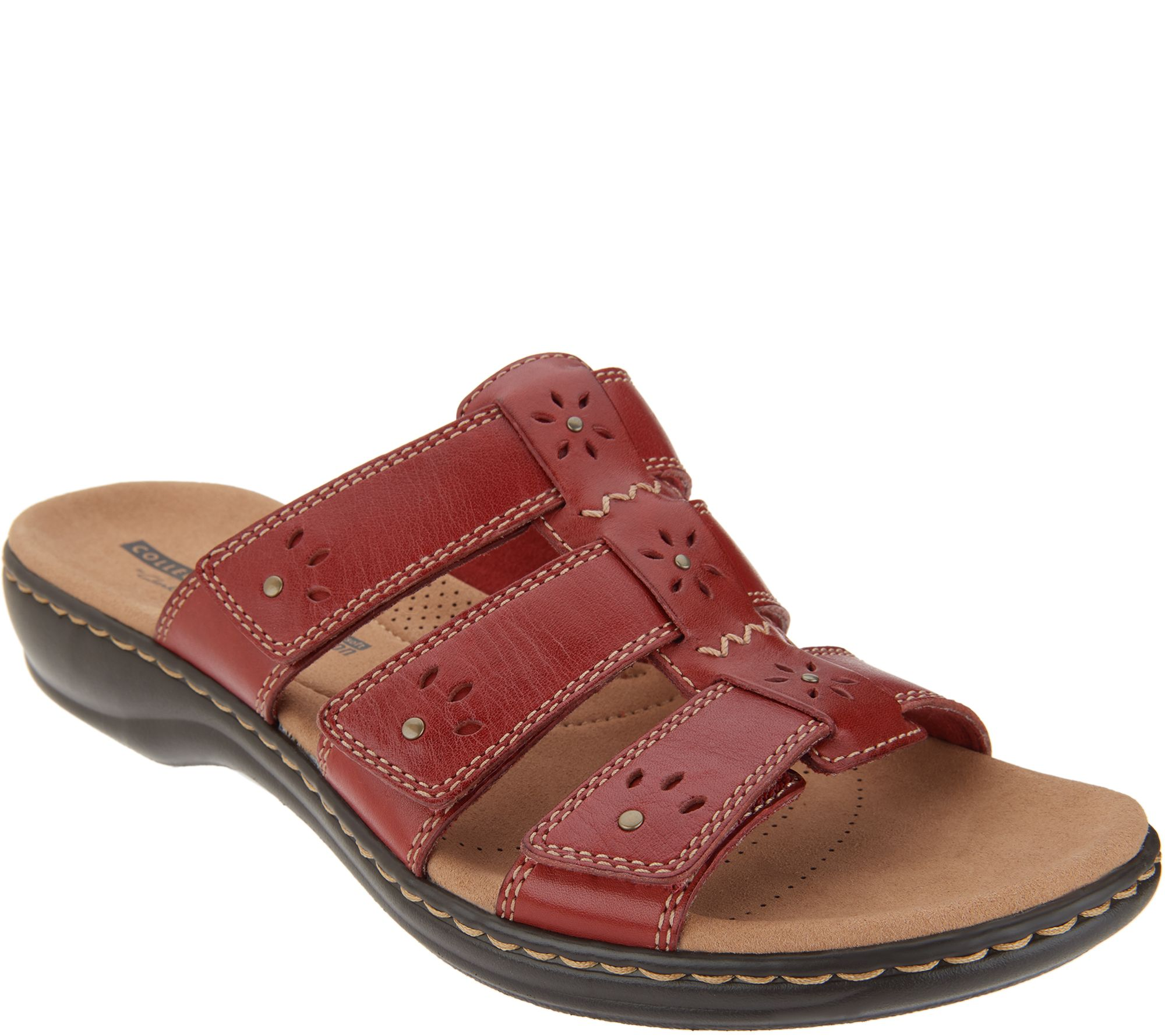 b910ab44f70 Clarks Collection Leather Slide Sandals - Leisa Spring - Page 1 — QVC.com