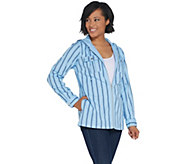 Denim & Co. Stretch Twill Zip-Front Striped Jacket with Hood - A307672