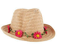 As Is Tashon Straw Fedora with Removable Flower Headband - A308572