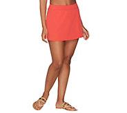 As Is Denim & Co. Beach Swim Skirt with Back Zip Pocket - A344472