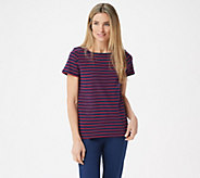 BROOKE SHIELDS Timeless Short-Sleeve Striped Square- Neck Knit Top - A349672