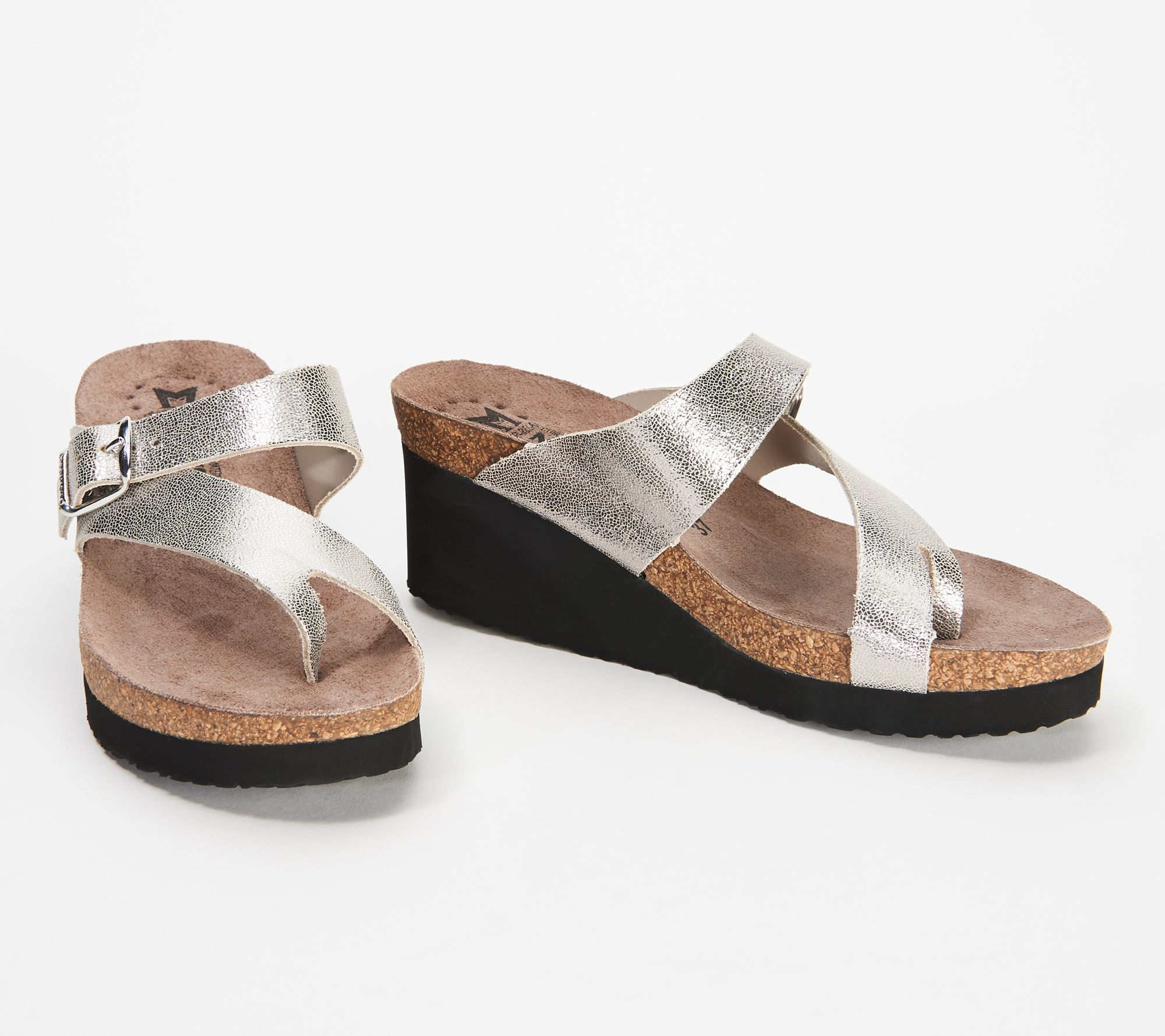 503ad37339 MEPHISTO Nubuck Leather Slide Wedges - Tyfanie - Page 1 — QVC.com
