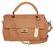 Emma & Sophia Leather Flap Front Satchel w/ Turn Lock Closure - A223873