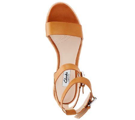f3bbdd21900b Clarks Narrative Leather Low Heel Sandals - Berrick Rock - Page 1 — QVC.com
