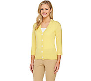 Isaac Mizrahi Live! 2-Ply Cashmere Classic V-Neck Cardigan - A262073
