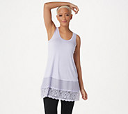 LOGO by Lori Goldstein Regular Knit Tank with Satin and Lace Trim - A274073
