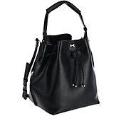 As Is H by Halston Smooth Leather Drawstring Bucket Handbag - A277873