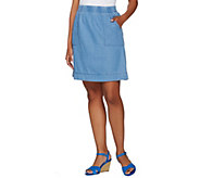 Isaac Mizrahi Live! TRUE DENIM Pull-on Skirt with Pockets - A278073