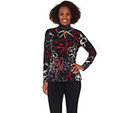 Susan Graver Printed Liquid Knit Long Sleeve Turtleneck - A281173