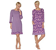 Carole Hochman Batik & Stripe Sleepshirt Set - A294073