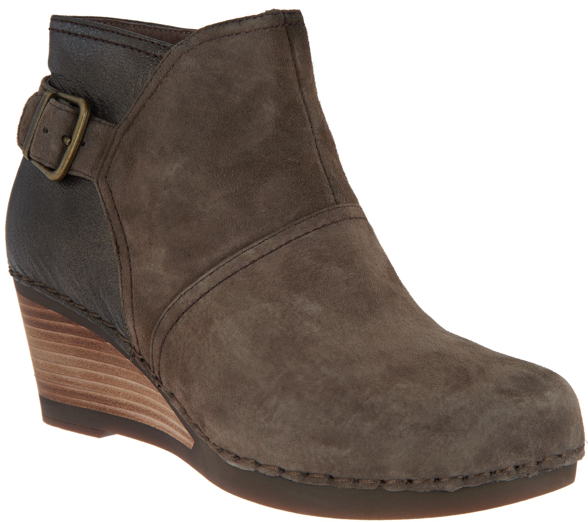 fe1f8b19c0db Dansko Nubuck or Suede Stacked Wedge Ankle Boots - Shirley - Page 1 —  QVC.com