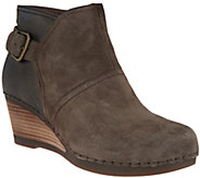 Dansko Nubuck or Suede Stacked Wedge Ankle Boots - Shirley - A296873