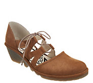 FLY London Leather Tie Front Wedges - Phis - A304873