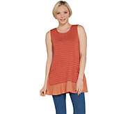 LOGO by Lori Goldstein Striped Sweater Knit Tank w/ Crepe Hem - A307273