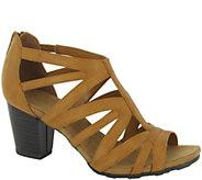 Easy Street Block Heel Sandals with Back Zip -Amaze - A338773