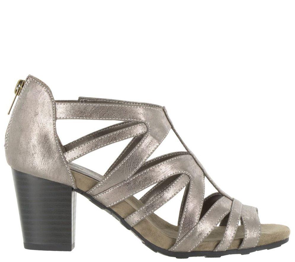 4c981c18c8d4 Easy Street Block Heel Sandals with Back Zip -Amaze - Page 1 — QVC.com