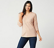 Denim & Co. 3/4 Sleeve Striped Knit Top - A230874