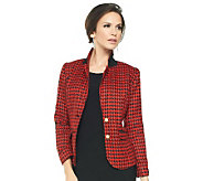 Joan Rivers Classic Long Sleeve Houndstooth Blazer - A234674