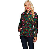 Liz Claiborne New York Floral Print Fleece Jacket - A268674