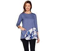 LOGO Lounge by Lori Goldstein French Terry Knit Top with Printed Flounce - A285374