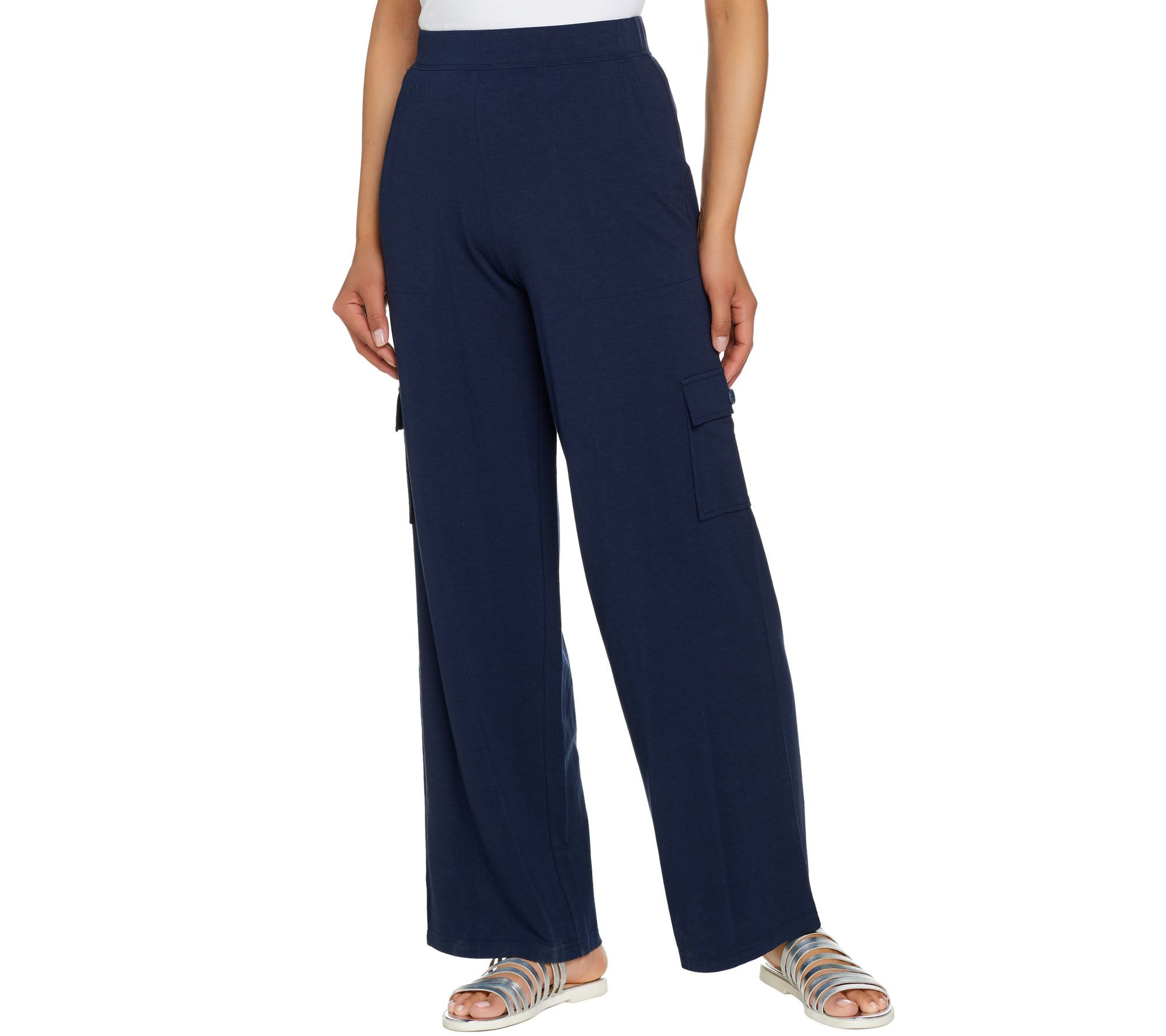 07a05496184 Denim   Co. Beach Tall Pull-On Wide Leg Knit Cargo Pants - Page 1 — QVC.com