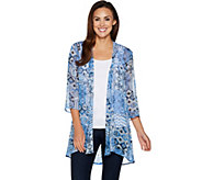 Susan Graver Printed Crinkle Sheer Chiffon Cardigan with Lace Inset - A290774