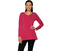 Belle by Kim Gravel Asymmetrical Sparkle V-Neck Tunic - A292974