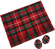Sprigs Fleece Plaid Scarf and Earbag Set - A299774